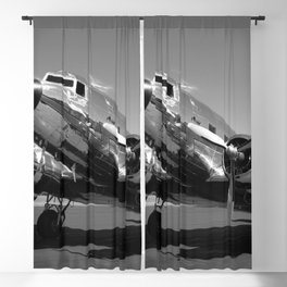 Douglas DC-3 Dakota Chrome Art Deco Airplane black and white photograph / art photography by Brian Burger Blackout Curtain