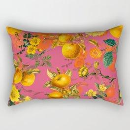 Vintage & Shabby Chic - Summer Golden Apples Pink Flowers Garden Rectangular Pillow