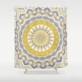 Bohemian Silver Gold Mandala Shower Curtain