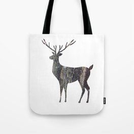 deer silhouette stag black bark with lichen Tote Bag
