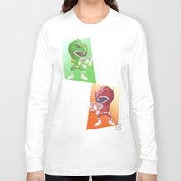 power rangers Long Sleeve T-shirts featuring Mighty Fightin' Power Rangers by garciarts
