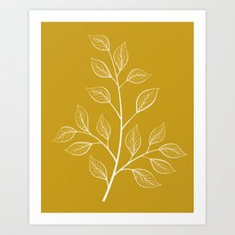 White Branch and Leaves on Mustard Yellow Art Print