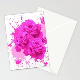 CERISE PINK ROSE PATTERN WATERCOLOR SPLATTER Stationery Cards