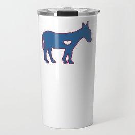 I Love Donkey Rider Jackass Mule Funny Democrat Jockey Blue Red Clean Travel Mug
