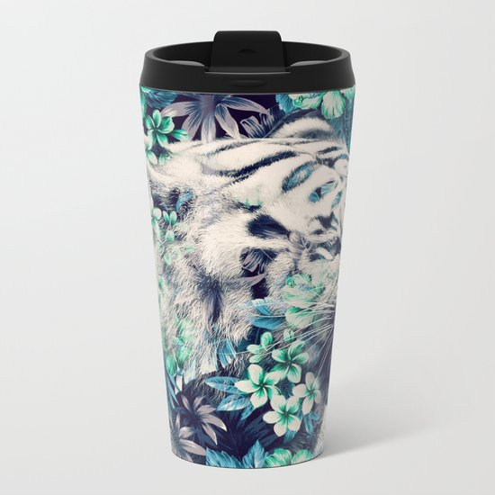 Floral Tiger Metal Travel Mug