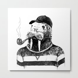 Walrus with a Pipe Metal Print