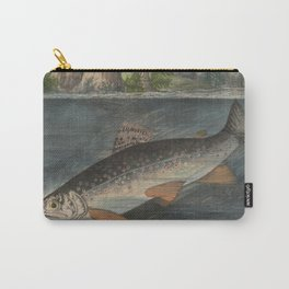 Vintage Illustration of a Hooked Brook Trout (1874) Carry-All Pouch