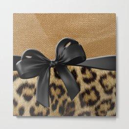 Leopard Print & Gold Metallic Black Ribbon Metal Print