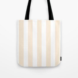 Moccasin Pink Solid Color White Vertical Lines Pattern Tote Bag
