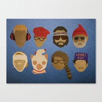 wes anderson Canvas Prints featuring Wes Anderson Hats by godzillagirl