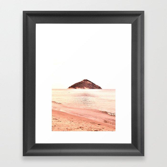 Coral Shades Minimal Beach Scape Framed Art Print