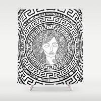 greek Shower Curtains featuring GREEK GODDESS by AZZURRO ARTS