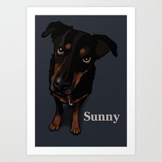 Sunny (blue) Art Print
