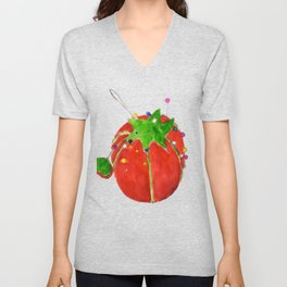 Tomato Pin Cushion Unisex V-Neck