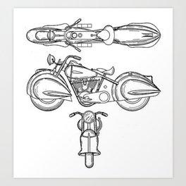 Henderson Motorcycle Prototype Streamliner Main Spec Pre-Patent Drawing Art Print