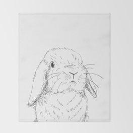 Curious Holland Lop Bunny Throw Blanket