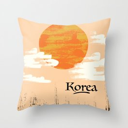 Korean Setting sun block art Throw Pillow