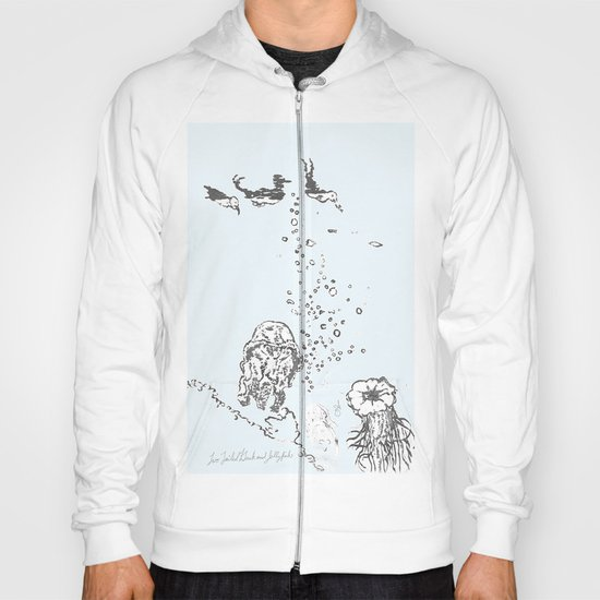 Two Tailed Duck and Jellyfish Pale Blue Hoody