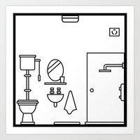 bathroom Art Prints featuring Bathroom by Stephen Cheetham