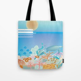 Great Barrier Reef, Australia - Skyline Illustration by Loose Petals Tote Bag