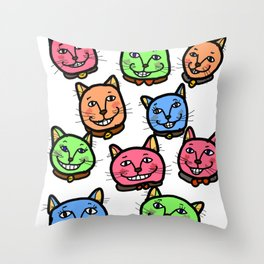 Happy Cheery Smiling Cats Throw Pillow