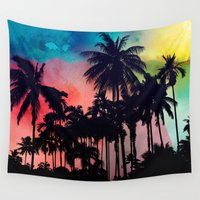 palm tree Wall Tapestries featuring palm tree by mark ashkenazi