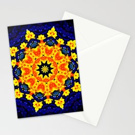 Yellow Orange Floral Madala  Background Dark Blue Stationery Cards