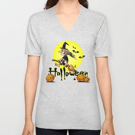Halloween, witch on a broom, bats and pumpkins Unisex V-Neck