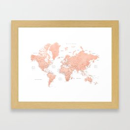 """Rose gold world map with cities, """"Hadi"""" Framed Art Print"""