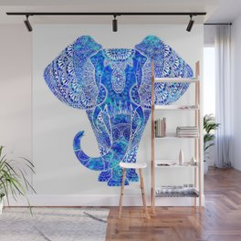 Teal Blue Elephant Wall Mural