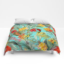 Vintage & Shabby Chic - Colorful Tropical Blue Garden Comforters