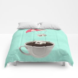 Sugar Cubes Jumping in a Cup of Coffee Comforters