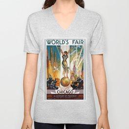 Vintage World's Fair Chicago IL 1933 Unisex V-Neck
