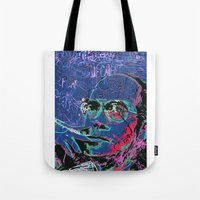 hunter s thompson Tote Bags featuring Hunter S. Thompson by Kori Levy illustration & design