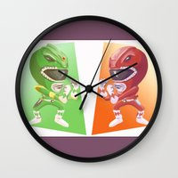 power rangers Wall Clocks featuring Mighty Fightin' Power Rangers by garciarts