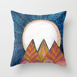 Moon Over Mountains at Dusk Throw Pillow