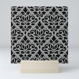 Scroll Damask Pattern Black on Gray Mini Art Print