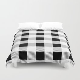 western country french farmhouse black and white plaid tartan gingham print Duvet Cover
