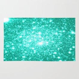 mint Green Sparkle Stars Rug