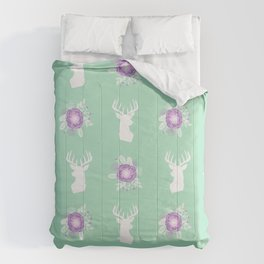 Deer head bouquet floral silhouette pattern minimal camping nursery baby mint and purple patterns Comforters