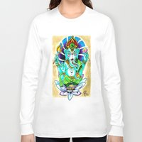 ganesh Long Sleeve T-shirts featuring Ganesh by Lady Noire