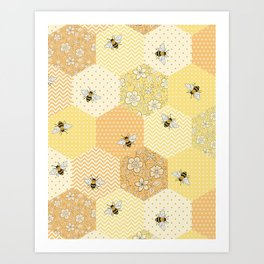 Patchwork Bees Pattern Art Print