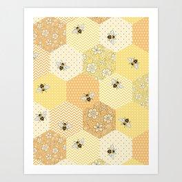 Patchwork Bees Pattern - lemon, apricot and buttermilk colours  Art Print