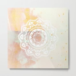 Warrior white mandala on pink Metal Print