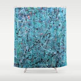 teal splatter Shower Curtain