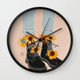 Flower Boots Wall Clock