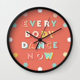 DANCE - typography Wall Clock