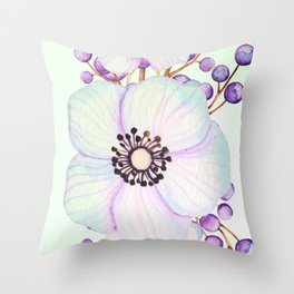 Turquoise And Violet Flowers Throw Pillow