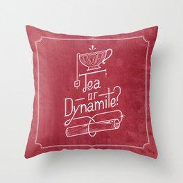 Tea or Dynamite? (red) Throw Pillow