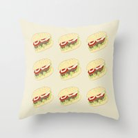 hamburger Throw Pillows featuring Hamburger by Berta Merlotte